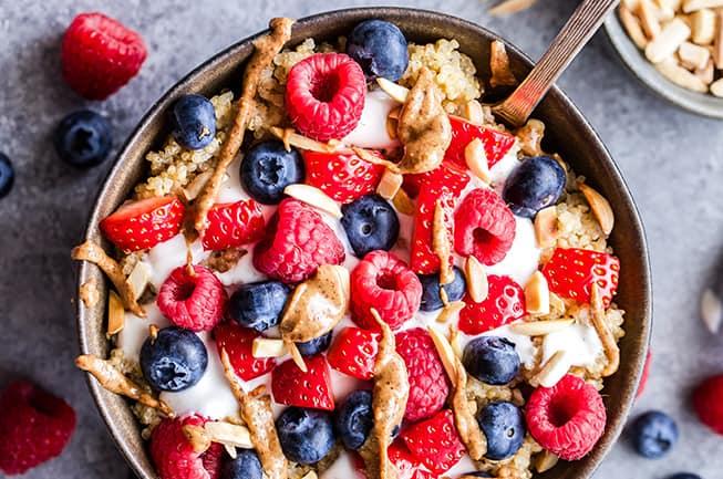 berry quinoa breakfast bowl homepage