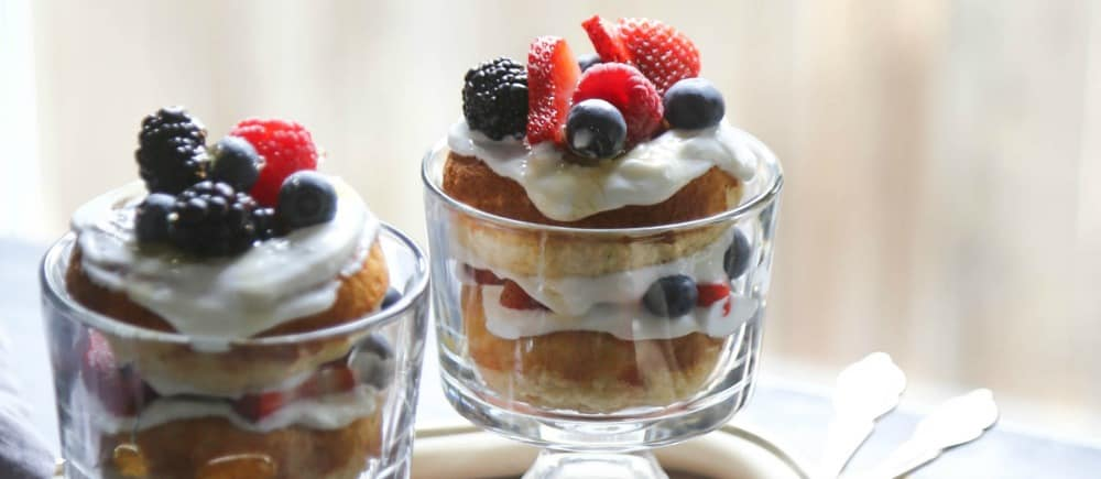 Greek Yogurt Baked Doughnut Parfaits with Fresh Berries