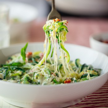 Photo of Zucchini Noodle Mac and Cheese with Sun-Dried Tomatoes