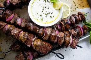 Steak & Mushrooms Kabobs with Mint Yogurt Dip