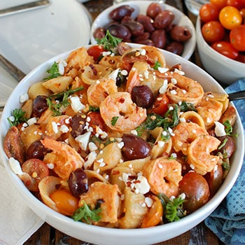 Photo of One Pot Mediterranean Shrimp Pasta