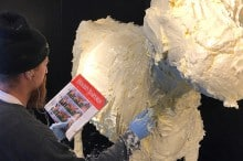 sculpting the butter cow