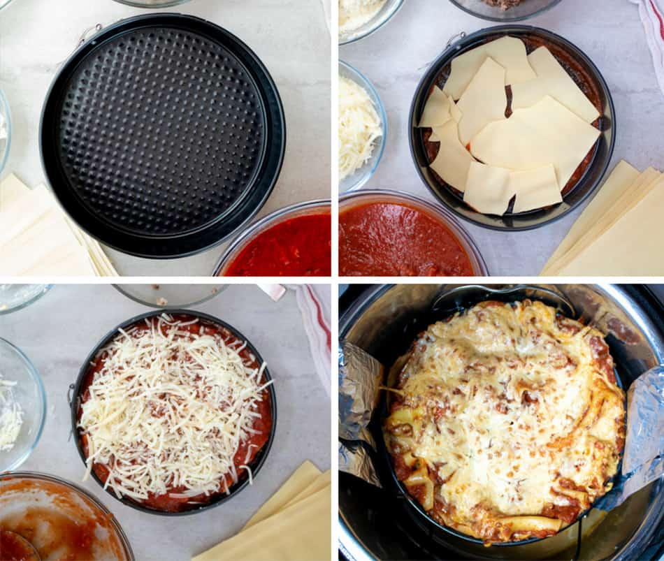 photo collage of how to make instant pot lasagna
