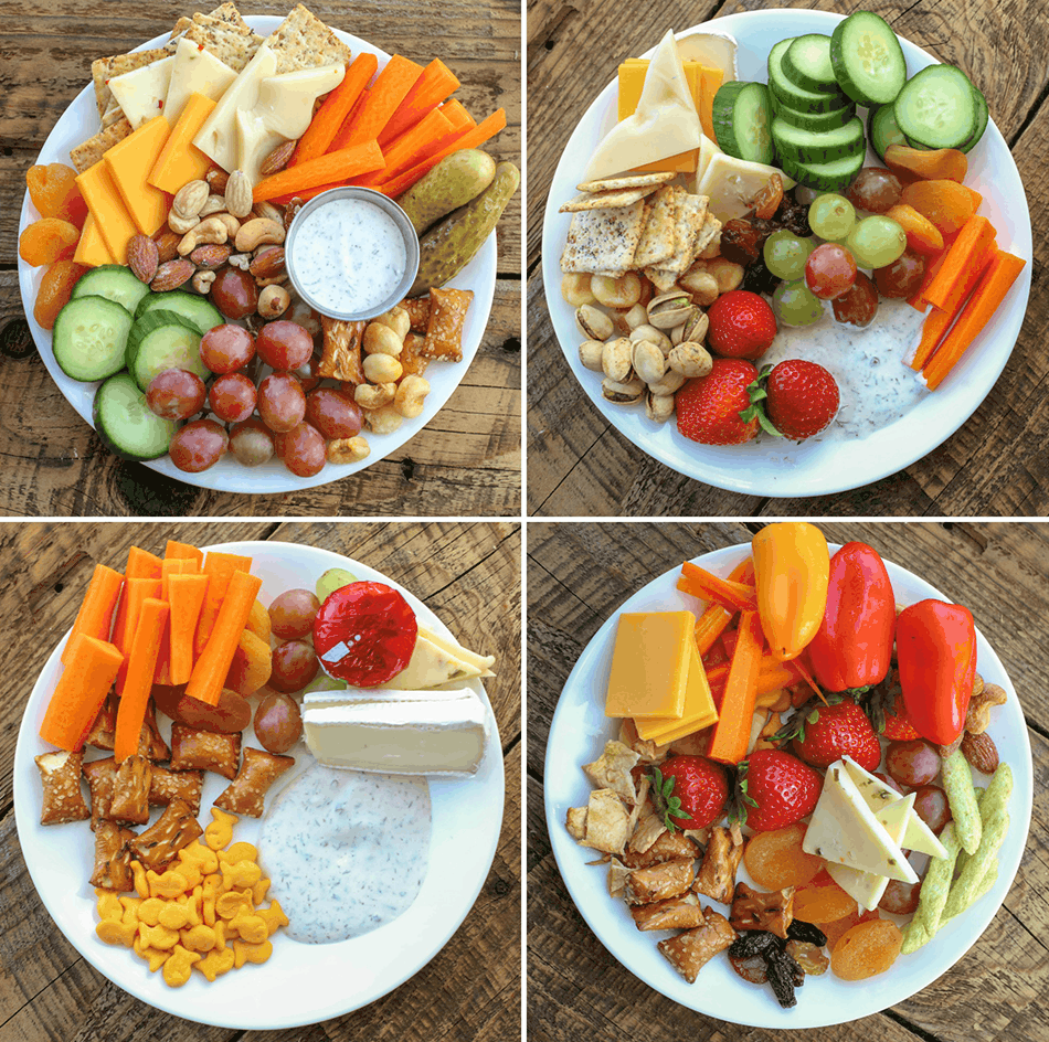 Four different plates of cheese plate snacks