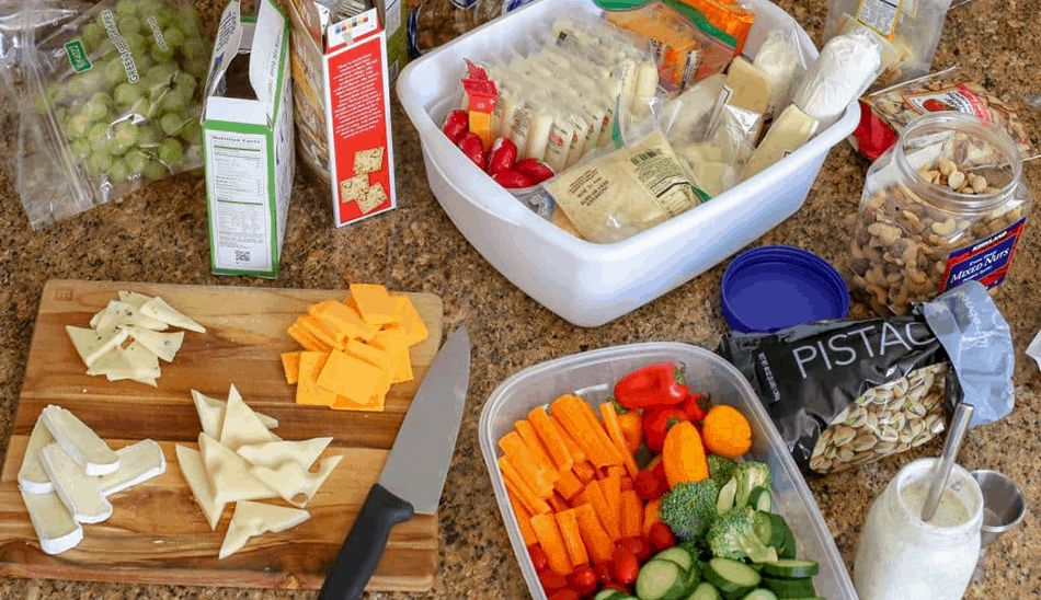 Cheese plate snack ingredients