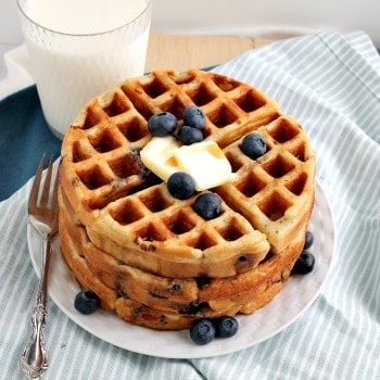 Photo of Double Blueberry Greek Yogurt Waffles