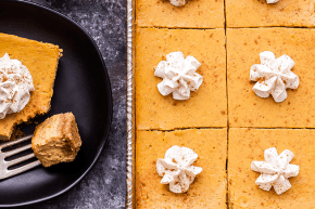 Creamy Pumpkin Pie Bars in a pan