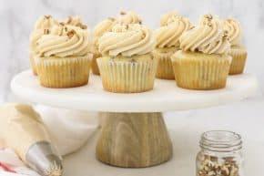 Brown Sugar Pecan Cupcakes on cake platter