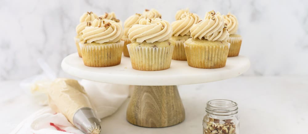 Brown Sugar Pecan Cupcakes on cake platter