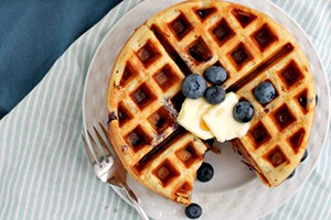 Double Blueberry Greek Yogurt Waffles