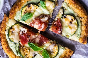 Cauliflower Pizza with Greek Yogurt Pesto & Grilled Veggies