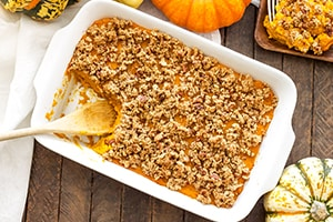 Cinnamon Maple Greek Yogurt Squash Casserole