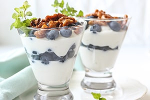 Lemon Yogurt Parfaits with Blueberries & Honey-Glazed Walnuts