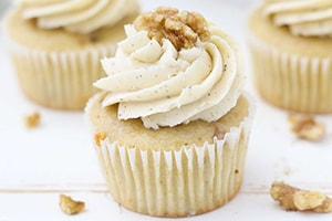 Maple Walnut Cupcakes with Brown Butter Frosting