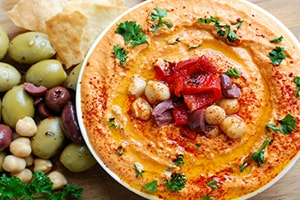 Roasted Red Pepper Greek Yogurt Hummus