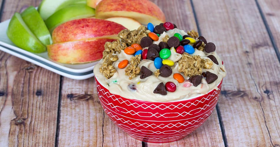 Monster cookie dough dip in a bowl