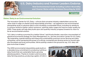 U.S. Dairy Industry and Farmer Leaders Endorse New Environmental Goals