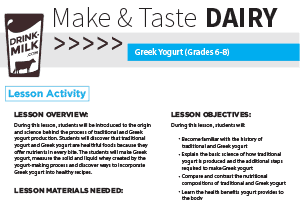Make & Taste Lesson: Greek Yogurt