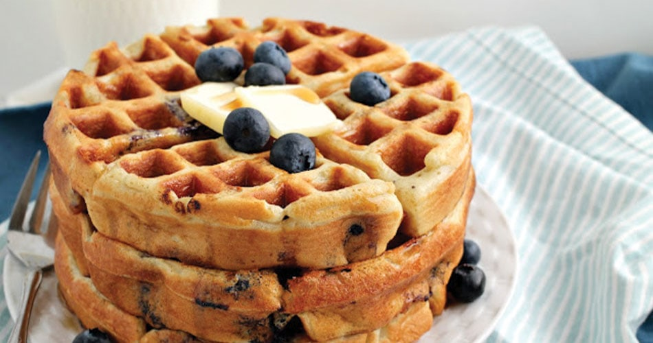 double blueberry greek yogurt waffles