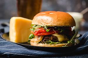 Portobello Burger with Swiss Cheese